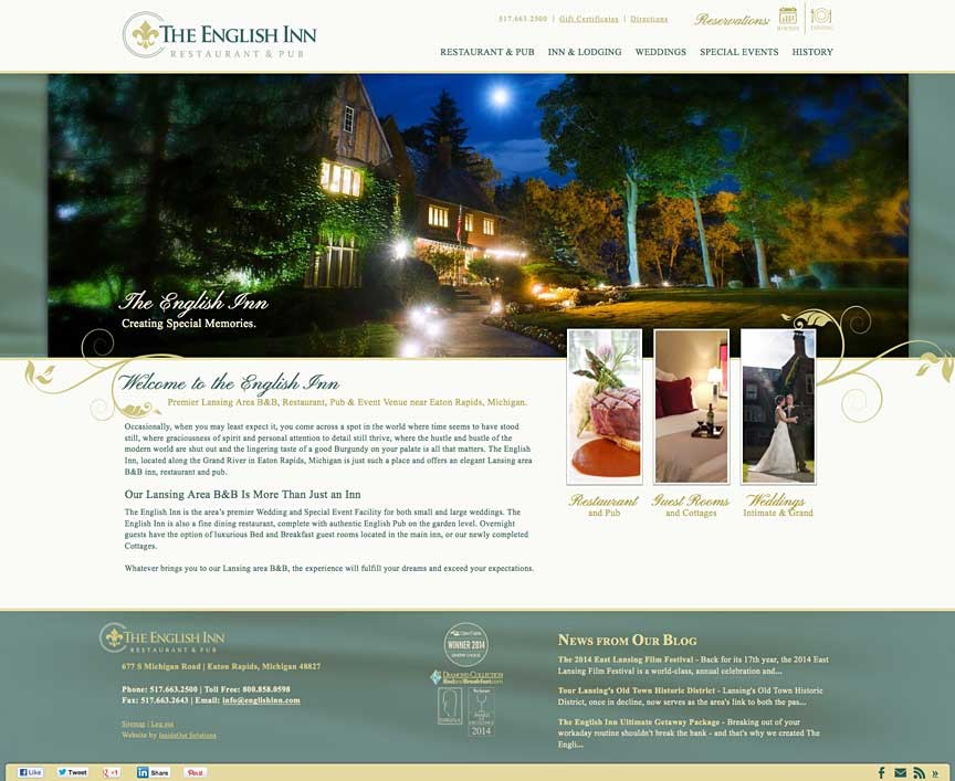 A New Website for The English Inn, Restaurant and Pub!